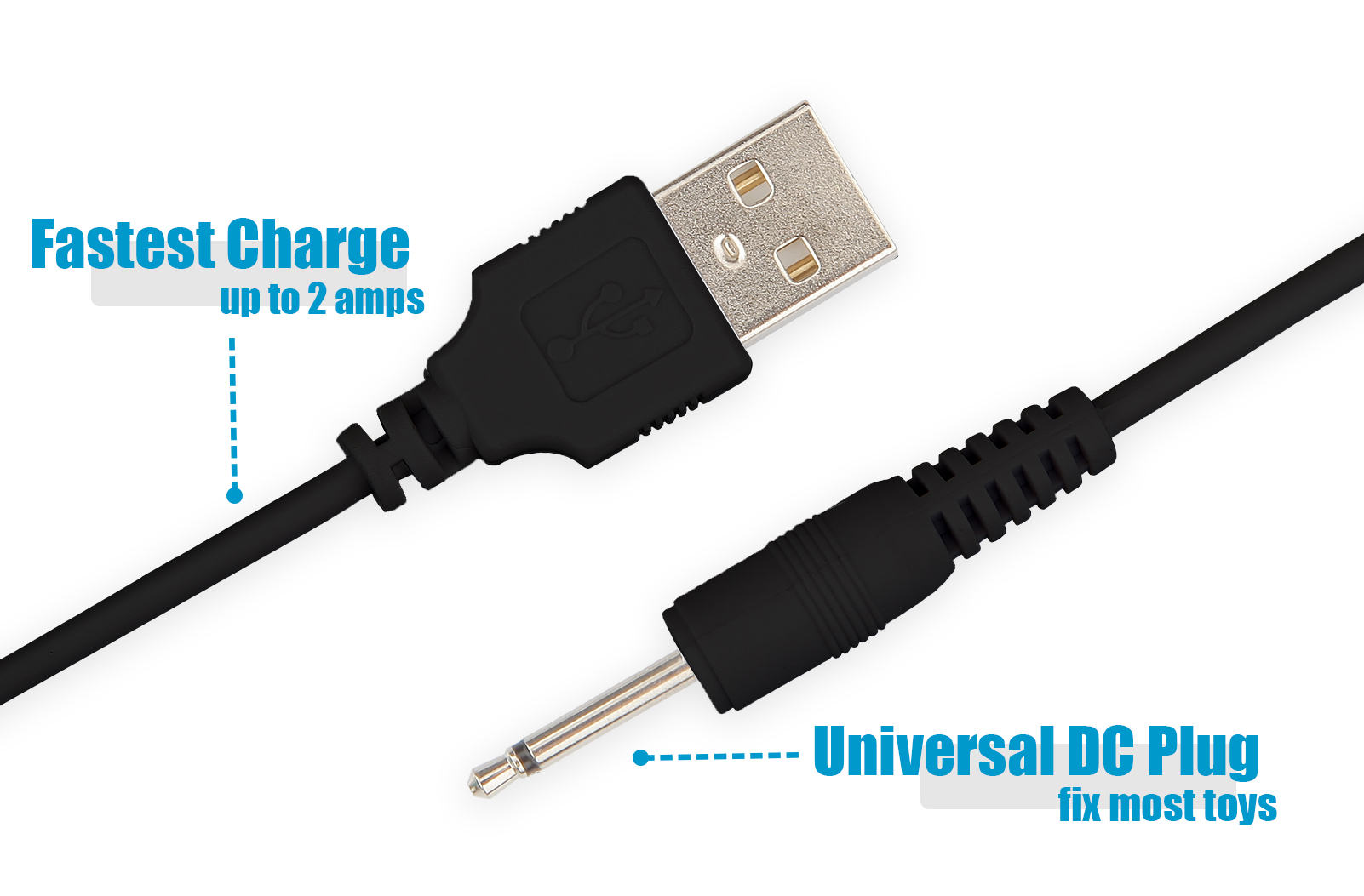 1 fast charging dc cable cord for rechargeable massagers work with universal usb power supply. Black Bedroom Furniture Sets. Home Design Ideas